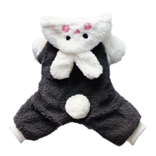 Adorable Bunny Halloween Dog Costumes Dog Hoodie Jumpsuit Dog Coat Pet Dog Clothes,Black,XS, My Pet Supplies
