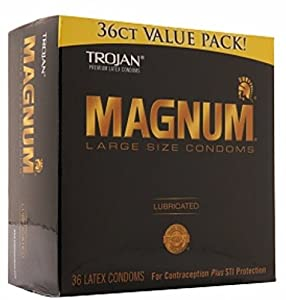 TROJAN Magnum Lubricated Latex Condoms, Large Size 36 ea