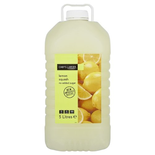 Chef's Larder Lemon Squash No Added Sugar 5 Litres (Pack of 2 x 5ltr) Chef' s Larder