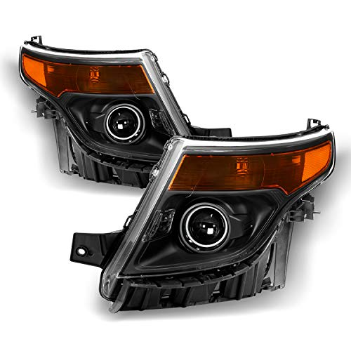 - Fits 2011-2015 Ford Explorer [Halogen Style] Projector Headlamp Black Headlights Diver+Passenger Side Pair