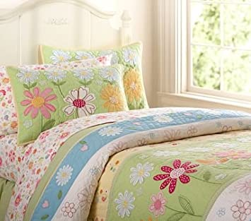 Pottery Barn Kids Green Daisy Garden Quilted Bedding