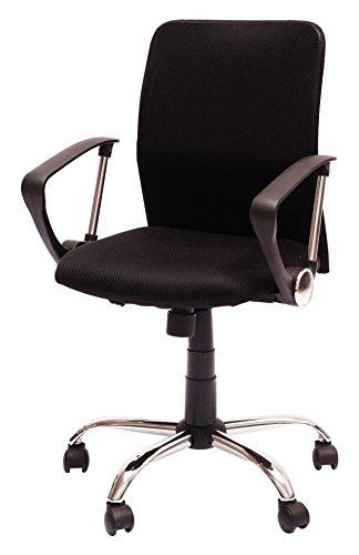 Columbia Silla giratoria para estudio despacho o escritorio con ruedas, ideal para teletrabajo.Silla de oficina giratoria con gas cromada mecanismo basculante y tela negra