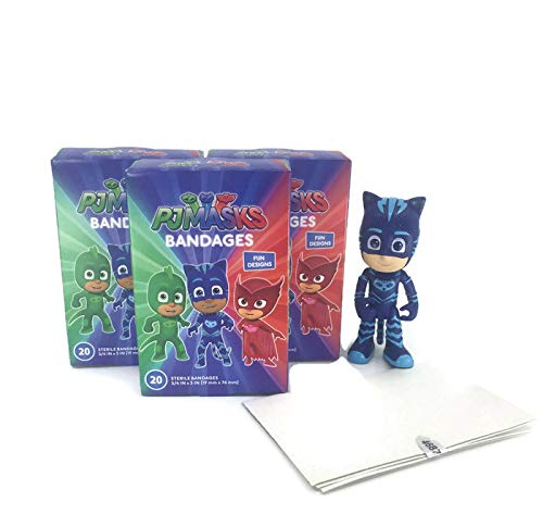 PJMASKS Latex Free Adhesive Bandages Bandaids 3 Pack of Variety Comics Designs 20 per Box - 60 Bandages Total, PVC Figure (Random) Plus a Bonus Free Collection of Fun Kids Jokes by Zee (4+ Items)