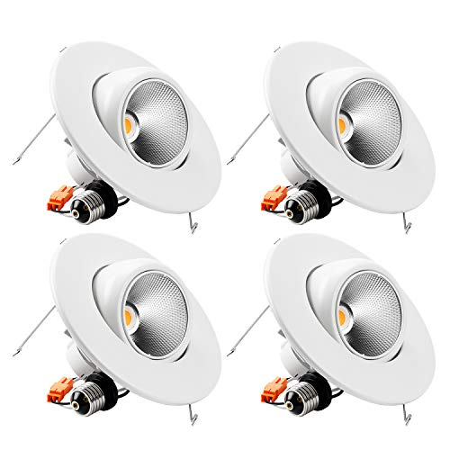 TORCHSTAR High CRI90+ 6inch Dimmable Gimbal Recessed LED Downlight, 10W (75W Equiv.), Energy Star, 2700K Warm White, 800lm, Adjustable LED Retrofit Lighting Fixture, 5 Years Warranty, Pack of 4