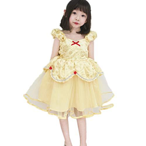 Girls Birthday Party Dress Princess Belle Costume Fancy Dress Up Halloween (100) -