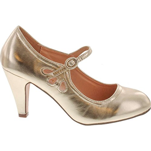 Chase & Chloe Kimmy-21 Womens Round Toe Mid Heel Mary Jane Pumps-Shoes Pumps,Light Gold,6.5 -