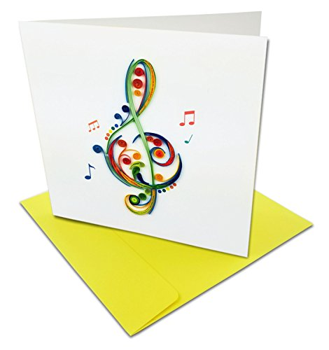 Treble Clef with Musical Notes Quilling Greeting Card, 6x6