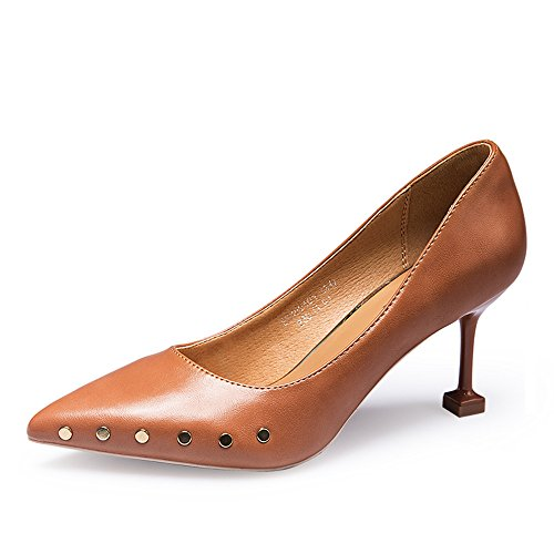 Summer Heeled Shoes Single Rivet Brown 7CM Fashion High Feifei Mouth Shallow Women's High Heeled Shoes Shoes qw7qEP