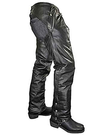 Xelement B7561 Men's Black Cowhide Leather Motorcycle Chaps with Removable Insulating Liner - Black / 30