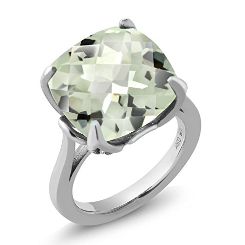 Gem Stone King 925 Sterling Silver Green Prasiolite Women's Ring (9.72 Ct, 14MM Cushion Checkerboard, Available in size 5, 6, 7, 8, -