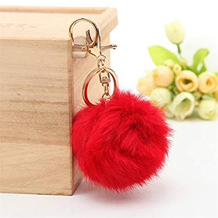 Amazon.com: Key Chains - Pompom Keychain Rabbit Fur Ball ...