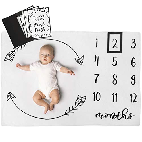 Scrapbook Boy Sayings Baby - Henry Hunter Baby Monthly Milestone Blanket with Frame & Milestone Cards | Photography Prop for Baby Boy & Girl | 100% Premium Cotton Fleece | 40 x 30 inches (Arrows)