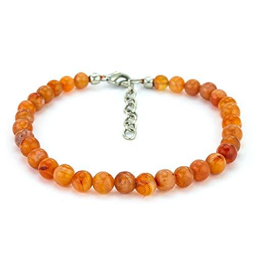 Genuine Bracelets Orange (Mystic Self Natural Handmade Beaded Women's Jewelry Genuine Semi Precious Gemstone Orange Carnelian Anklet)