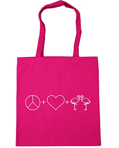 10 HippoWarehouse Bag litres Shopping Beach Gym Love and Flamingos Peace Fuchsia 42cm Tote x38cm ZPnZpFwq