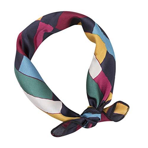 HYIRI Lightweight Vintage Elegant Designs Silk Satin Feel Ladies Small Square Head/Neck Scarf