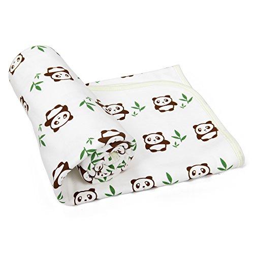 Babydecke / Kinderdecke / Babybettdecke / Erstlingsdecke mit niedlichem Panda Motiv aus SUPER KUSCHELIGER Baumwolle für Jungen und Mädchen