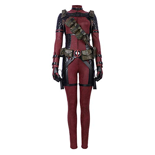 COMShow Female Deadpool Cosplay Costume Jumpsuit Outfit Halloween Carnival Deadpool Costume for Adult Women (XL, no mask no -