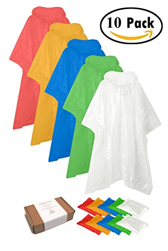 "Zoophyter ""Rain-Proof King"" 10pcs Assorted Adult Emergency Disposable Rain Poncho, Individual Packed(Assorted) (Green Melbourne Store)"