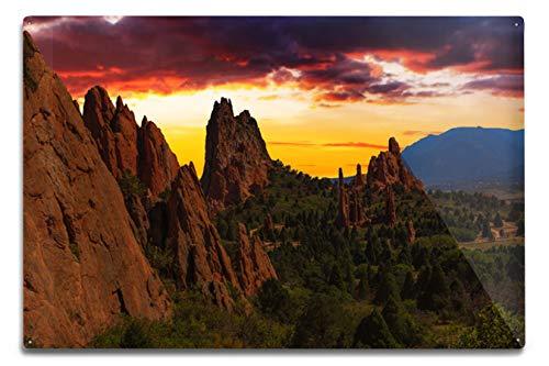 Lantern Press Colorado Springs, Colorado - Garden of The Gods at Sunset - Photography A-92634 (12x18 Aluminum Wall Sign, Metal Wall Decor Ready to Hang)