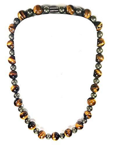 Auras By Osiris Mens Necklace - Pyrite And Tigers Eye Bead Necklace For Men - Magnetic Clasp - Positive Energy - Good Luck - Handcrafted in the USA