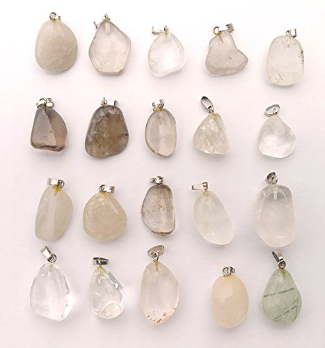 Other Natural Stones Pendants ( GemMaster 20 Piece Tumbled Stone Natural Gemstone Pendants (Quart) )