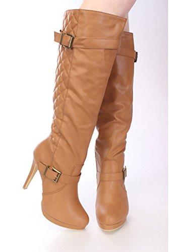 Tan Black Fashion Heel Stitched High Women's Tan High Buckle La Stiletto Platform Bella in Knee Boots ZwxqnHF