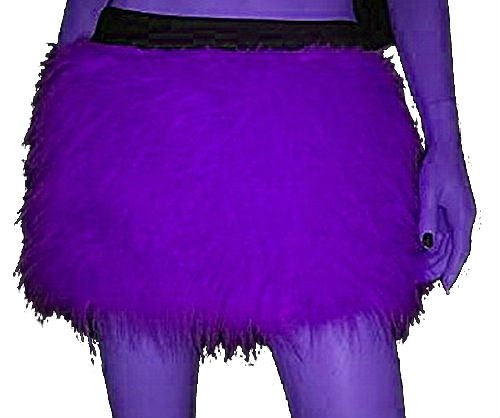 Purple Fluffy Furry Uv Skirt Covers Party Rave Clubwear Halloween Dance Christmas (Halloween Rave)