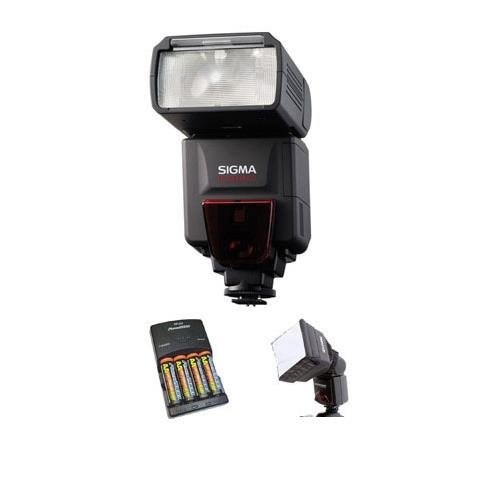 Adorama Nimh Battery Charger - Sigma EF-610 DG ST Shoe Mount Flash for Canon EOS E-TTL-II Digital SLR's, - Basic Outfit - with 4 NiMH Batteries, Charger, Adorama Mini SoftBox Diffuser