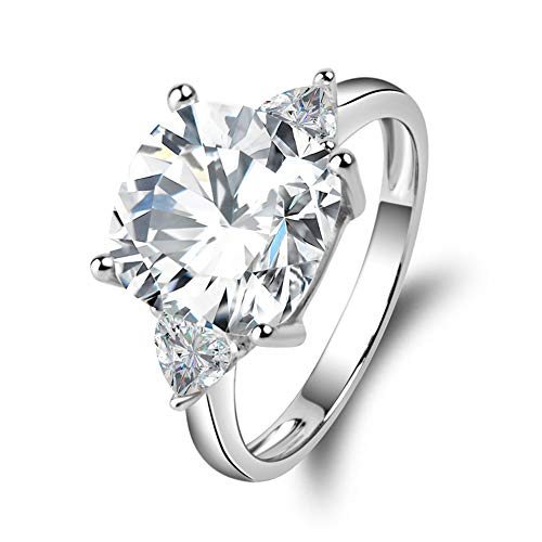 Erllo 5 Carats Cushion Cut 925 Sterling Silver Cubic Zirconia CZ 3 Stone Engagement Wedding Ring (5.5) (Carats Cushion Engagement Ring)
