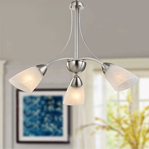 3-Light Silver Iron Modern Chandelier with Glass Shades (E-HKP31270-3) ()