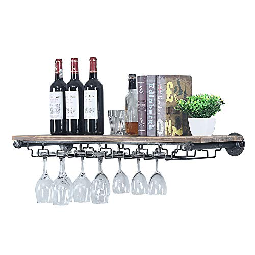 Industrial Pipe Shelving Hanging Stemware Racks,Rustic Wall Mounted Wine Rack with 8 Glass Holder,Steampunk Iron Floating Bar Shelves Stemware Holder,36in Metal Real Wood shelf Wall Shelf