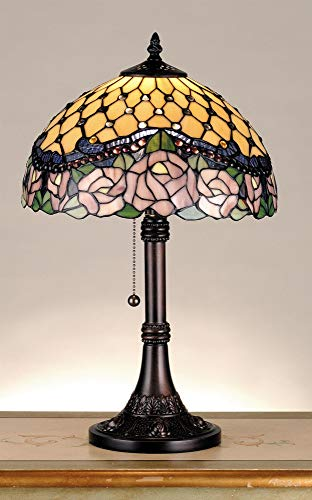 Meyda Tiffany 82304 Jeweled Rose Table Lamp, 19.5