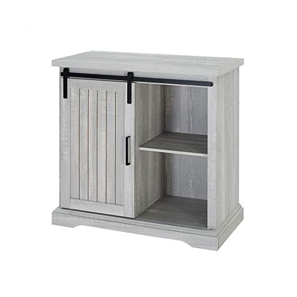 Walker Edison Beaumont Modern Farmhouse Sliding Slat Door Storage Cabinet, 32 Inch, Grey