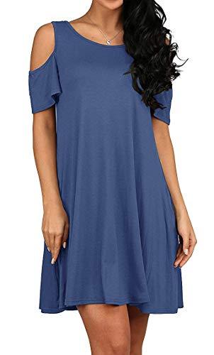 QIXING Women's Summer Basic Cotton Short Sleeve Pockets Loose Casual Dress Elegant Blue-L from QIXING