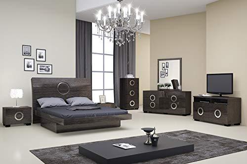 "Bedroom HomeRoots 84"" X 87"" X 40"" 4pc Califoria King Modern Gray High Gloss Bedroom Set modern bedroom furniture sets"