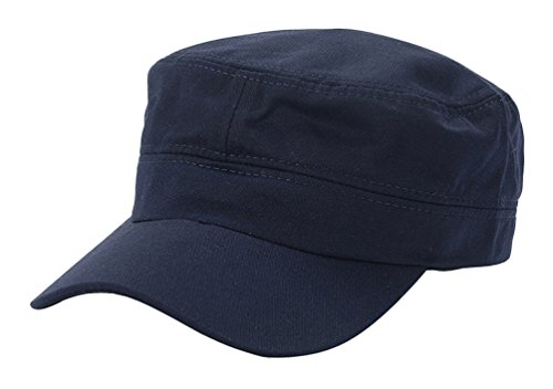 SportsWell Unisex Twill Flat Cap Everyday Sunhat Basic Army Cadet Military Hat,Navy ()