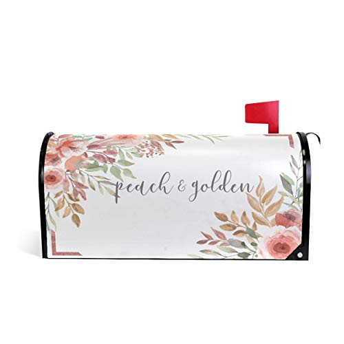Joysay Peach Golden Flowers Mailbox Cover Beatiful Magnetic Mailbox Covers Post Letter Box Wraps 18 x 21 inch