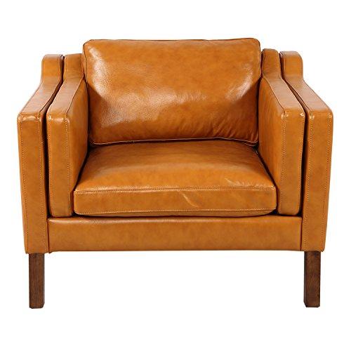 Tan Aniline Leather (Kardiel Monroe Mid-Century Modern Vintage Chair, Tan Aniline Leather)