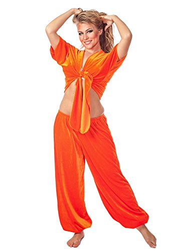 Belly Dance Velvet Choli Top and Harem Pants Velvet Crush (ORANGE) (Belly Dance Costumes For Teenagers)