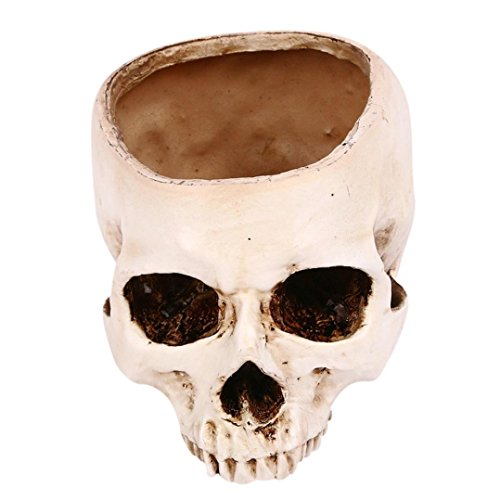 Oksale® Halloween Party Supplies Prop Skull Ornaments Decorations Simulation Flower Pots Dry Soot (Big Lots Halloween Clearance)