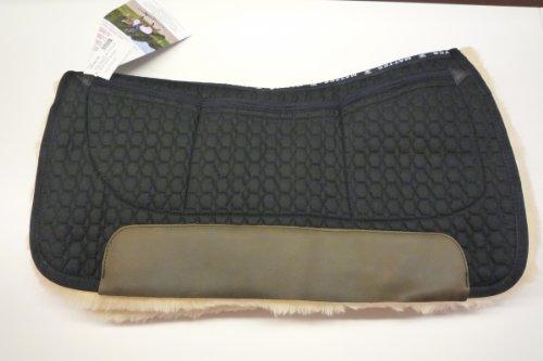 Mattes Westernpad Square Pad komplett Lammfell mit Dreitaschen-Correction-System, schwarz, Long
