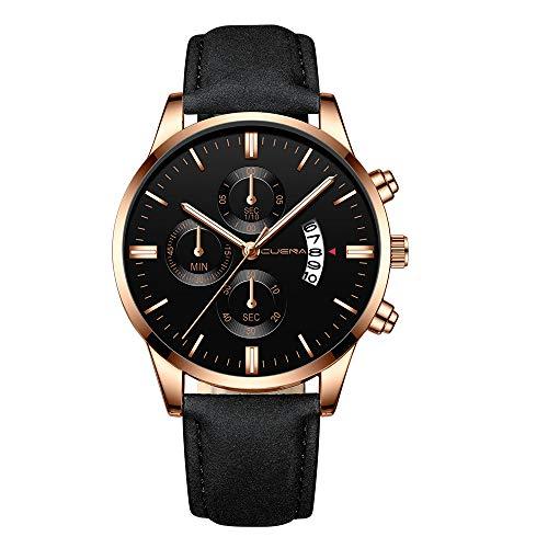 Men's Watch Leather Band, Mitiy Stainless Steel Slim Men Watch,Men's Fashion Minimalist Quartz Watch