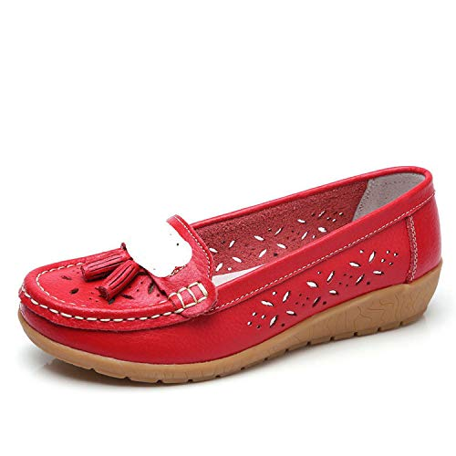 Women Genuine Leather Ballet Flats Casual Shoes Cutout Slip On Flats Female Loafers,Red,9]()