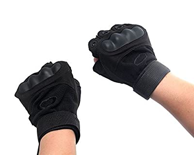 Etrance Ventilate Wear-resistant Half Finger Tactical Gloves Hard Knuckle and Foam Protection for Shooting Airsoft Hunting Cycling 1 Pair Black M