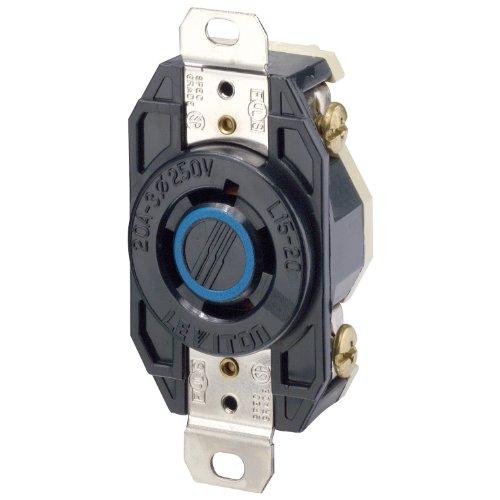 Leviton 2420 20 Amp 250-Volt 3-Phase Flush Mounting Grounding Locking Receptacle, Black