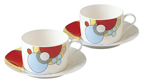 Noritake bone china Frank Lloyd Wright design tableware tea and coffee porcelain bowl plate pair set P97282/4614 (japan import) ()