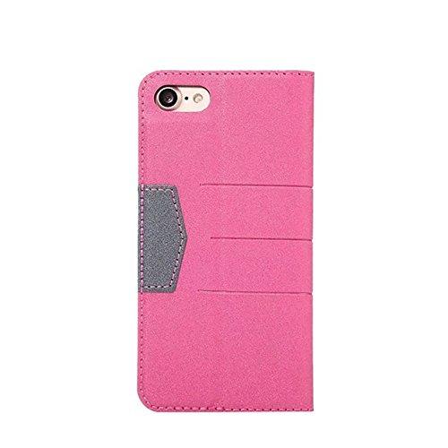 JIALUN-carcasa de telefono para el iPhone 7, tapa magnética cubierta de cuero de la caja de la PU con Kickstand y ranura para tarjeta ( Color : Darkblue ) Rose