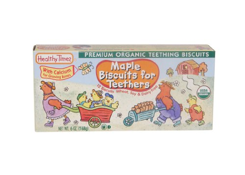 Healthy Times Organic Teething Biscuits, Maple, 6 Ounce (Pack of 12)