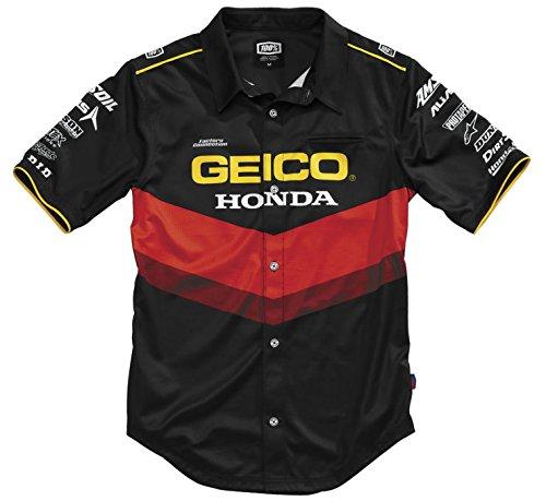 100% Geico Honda Pilot Pit Shirt (XX-LARGE) (BLACK)