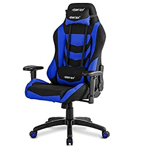 Merax Racing Style Office Chair Gaming Ergonomic with Adjustable Armrests Home Office Computer Chair (Blue)